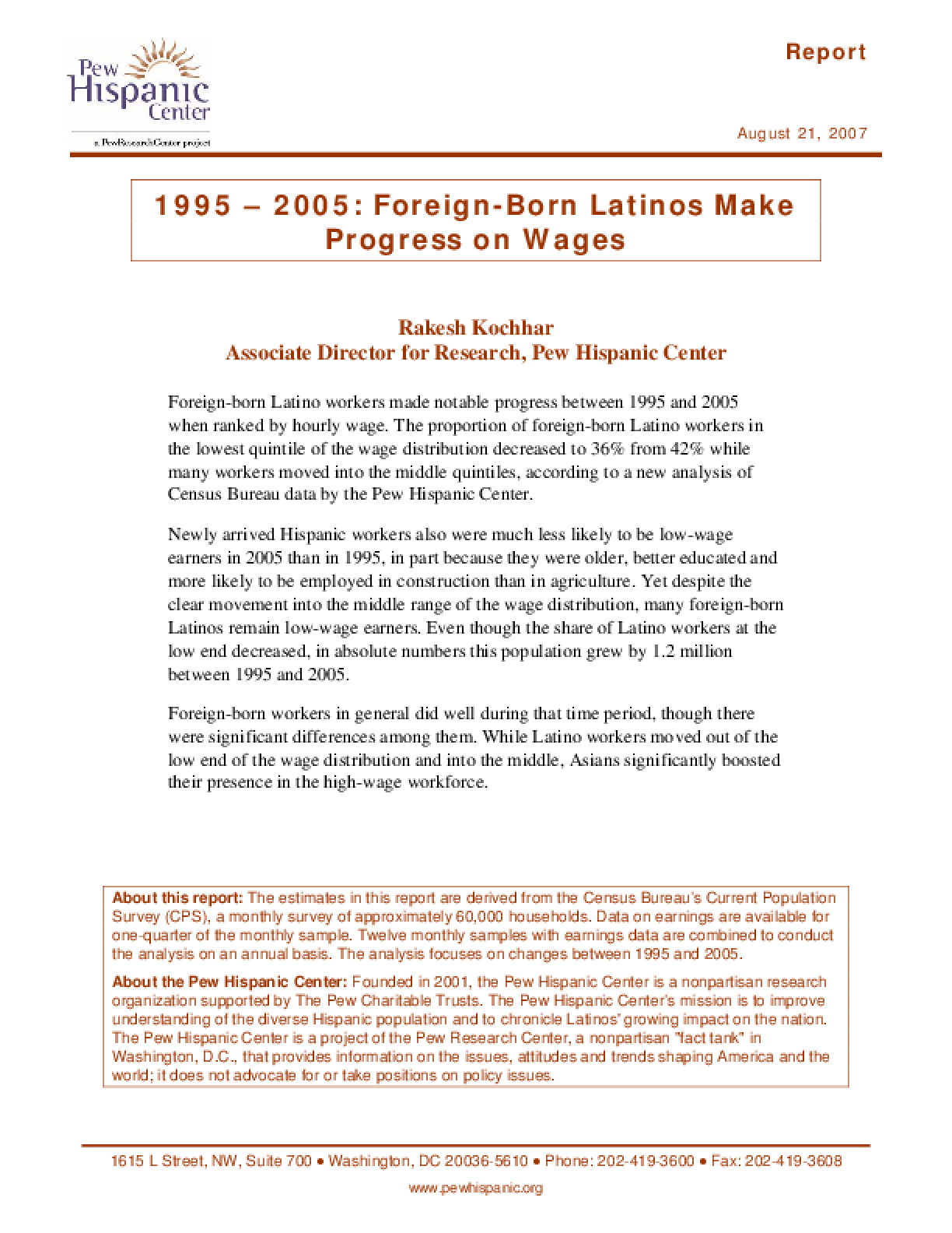 1995 - 2005: Foreign-Born Latinos Make Progress on Wages