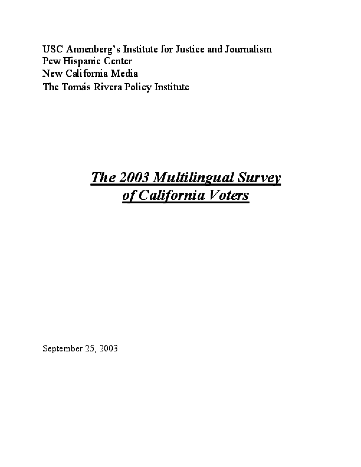2003 Multilingual Survey of California Voters