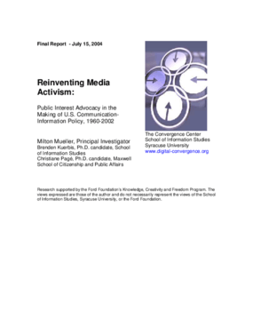 Reinventing Media Activism: Public Interest Advocacy in the Making of U.S. Communication-Information Policy, 1960-2002
