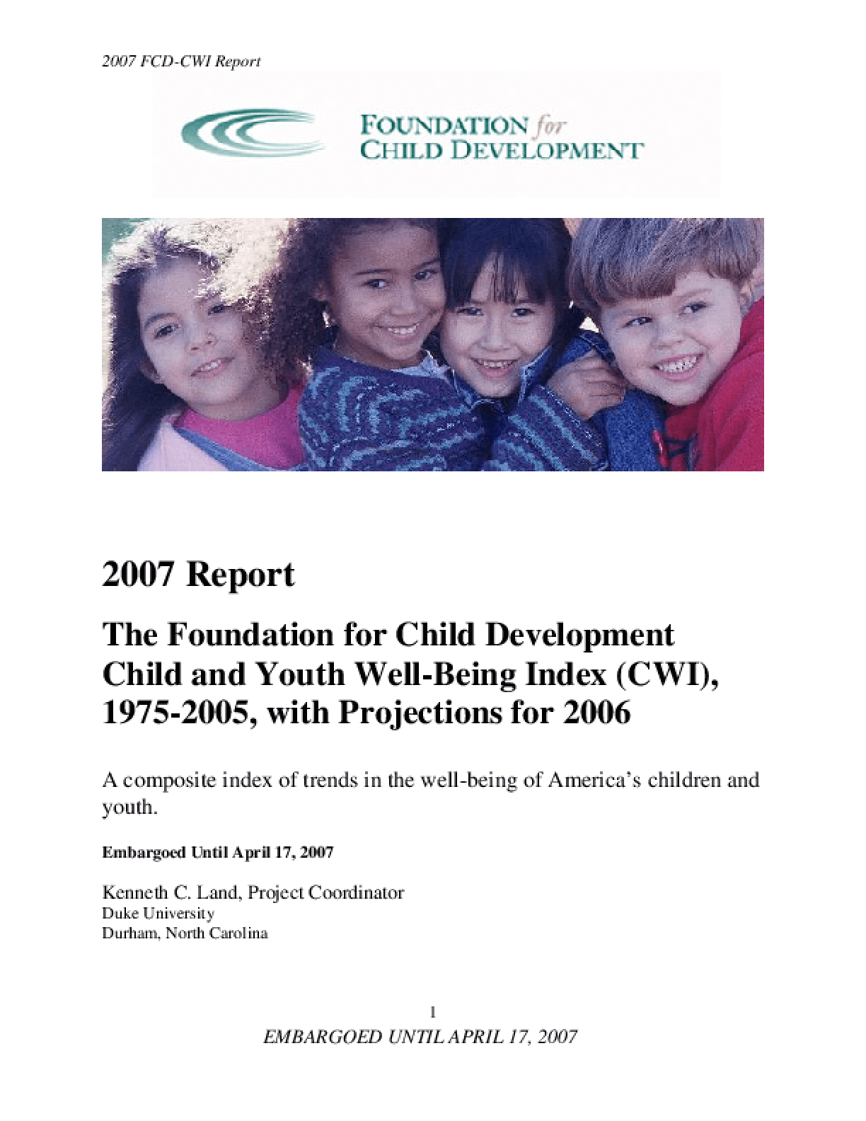 2007 Index of Child Well-Being