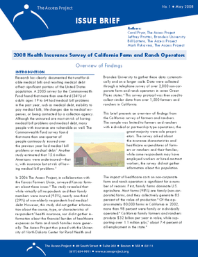 2008 Health Insurance Survey of California Farm and Ranch Operators: Overview of Findings