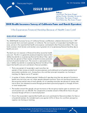 2008 Health Insurance Survey of California Farm and Ranch Operators: Who Experiences Financial Hardship Because of Health Care Costs?