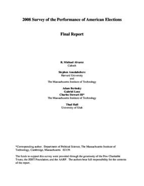 2008 Survey of the Performance of American Elections: Final Report