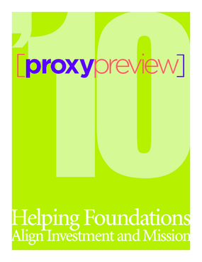 2010 Proxy Preview: Helping Foundations Align Investment and Mission