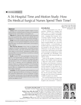 A 36-Hospital Time and Motion Study: How Do Medical-Surgical Nurses Spend Their Time?
