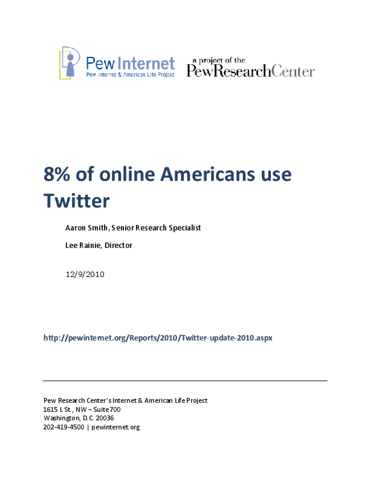 8% of Online Americans Use Twitter