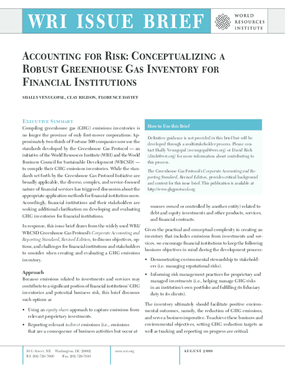 Accounting for Risk: Conceptualizing a Robust Greenhouse Gas Inventory for Financial Institutions