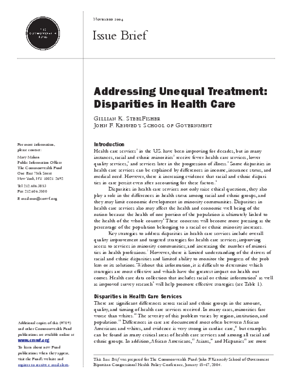 Addressing Unequal Treatment: Disparities in Health Care