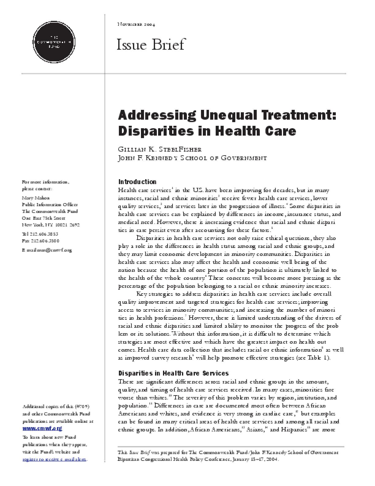 addressing unequal treatment disparities in health care issuelab