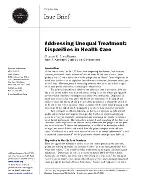 Addressing Unequal Treatment: Disparities in Health Care