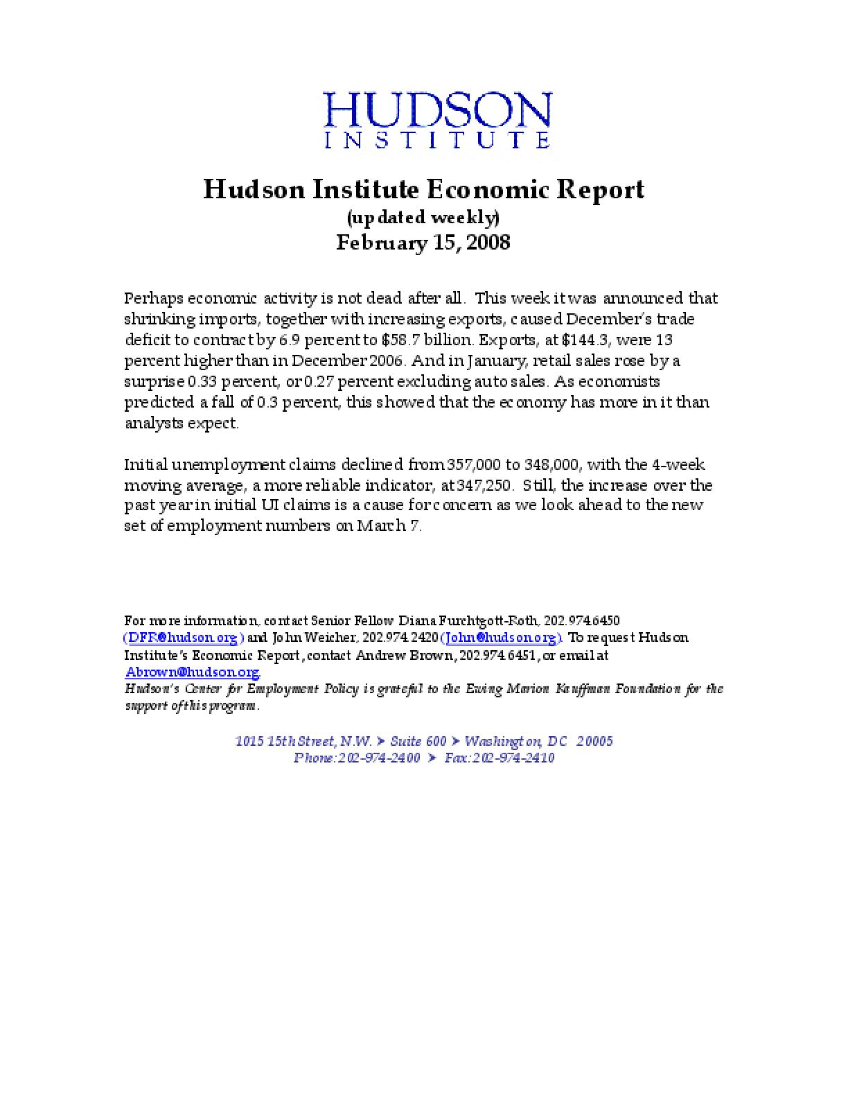Hudson Institute Economic Report 02-15-2008