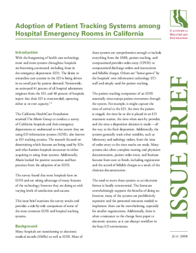 Adoption of Patient Tracking Systems Among Hospital Emergency Rooms in California