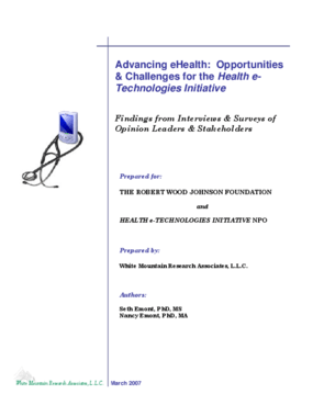Advancing eHealth: Opportunities & Challenges for the Health e-Technologies Initiative