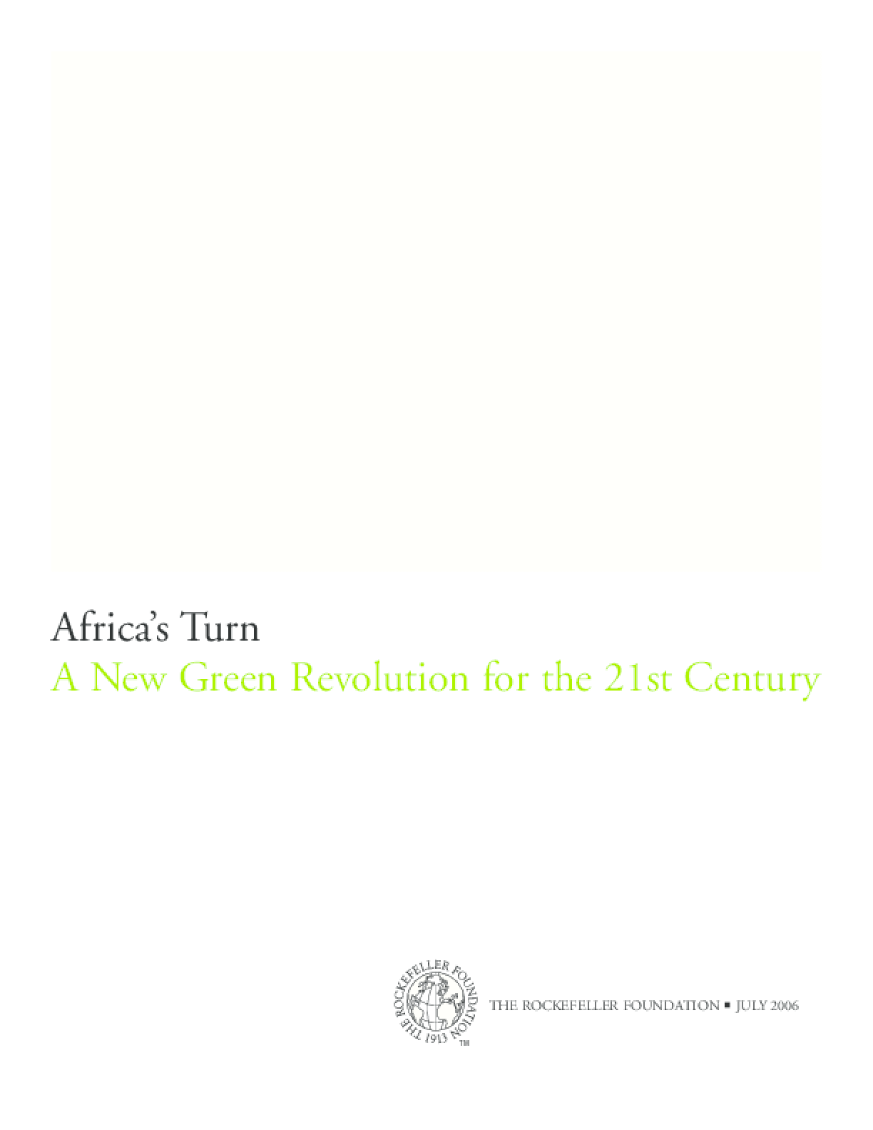 Africa's Turn: A New Green Revolution for the 21st Century