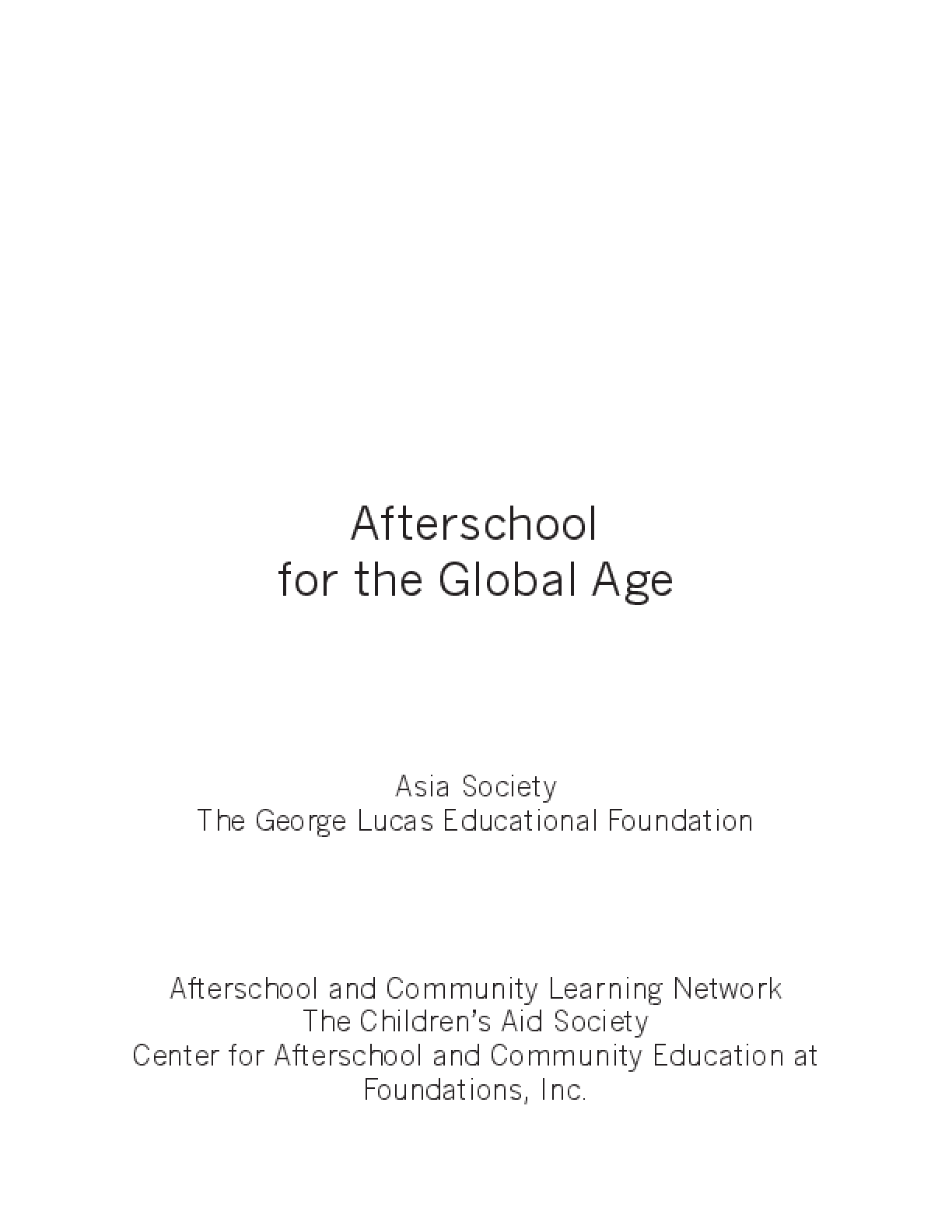 Afterschool for the Global Age