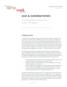 Age & Generations: Understanding Experiences at the Workplace