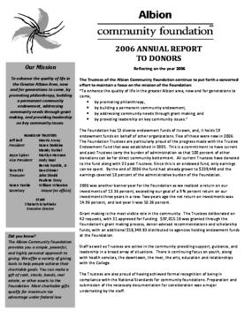 Albion Community Foundation - 2006 Annual Report