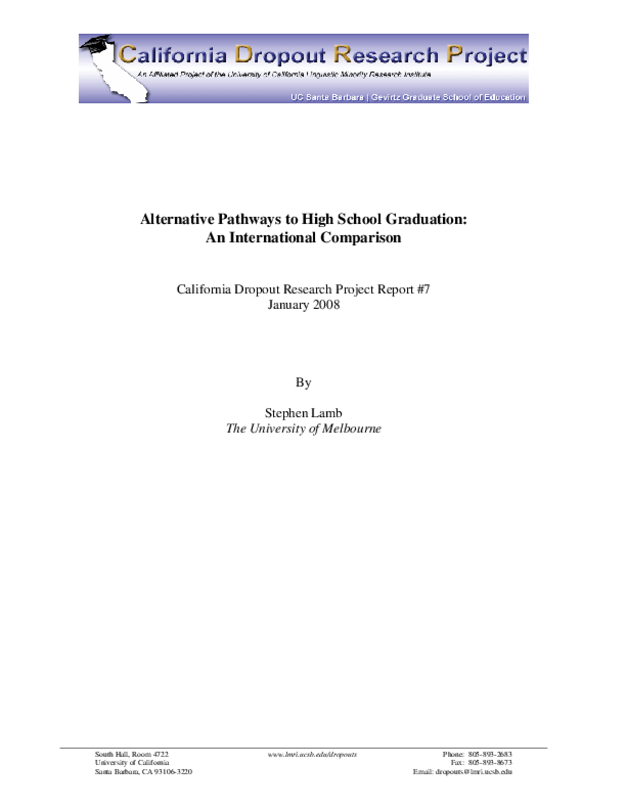 Alternative Pathways to High School Graduation: An International Comparison