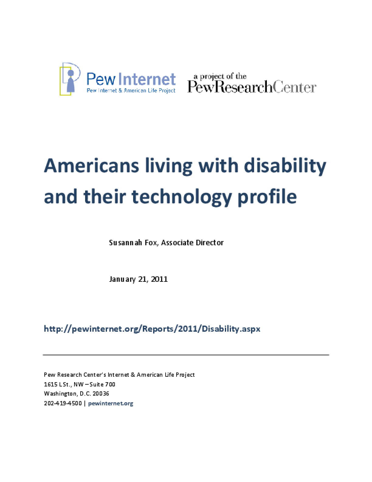 Americans Living With Disability and Their Technology Profile
