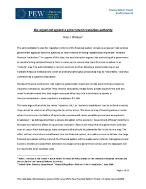 The Argument Against a Government Resolution Authority