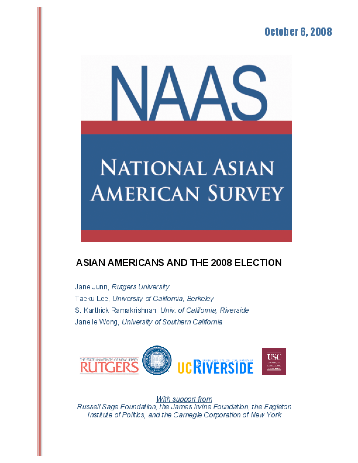 Asian Americans and the 2008 Election