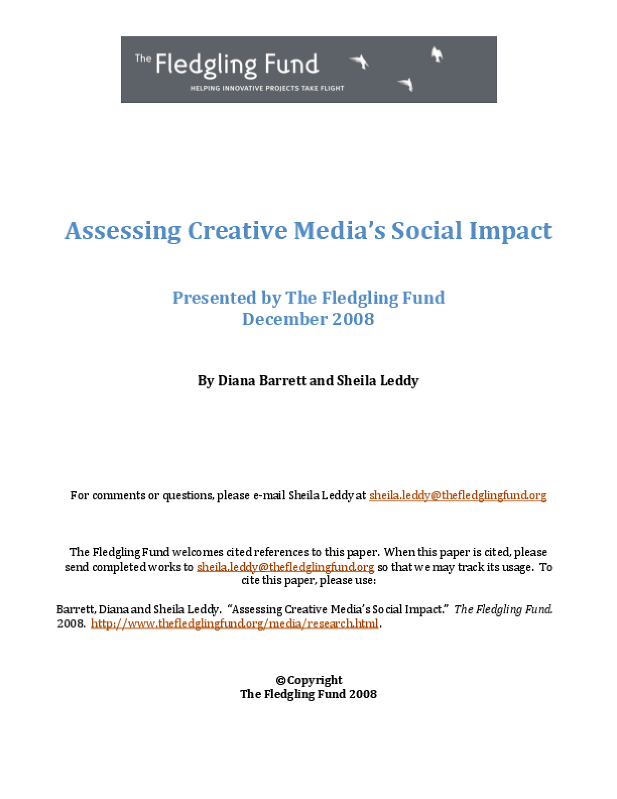 Assessing Creative Media's Social Impact