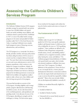 Assessing the California Children's Services Program