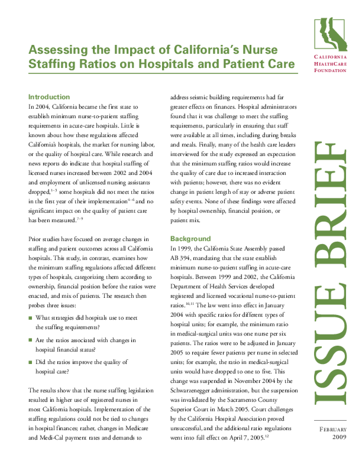 Assessing the Impact of California's Nurse Staffing Ratios on Hospitals and Patient Care