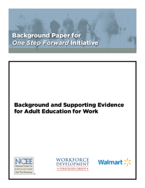 Background and Supporting Evidence for Adult Education for Work