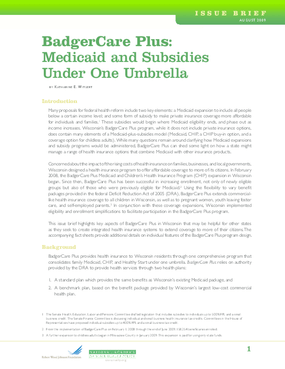 BadgerCare Plus: Medicaid and Subsidies Under One Umbrella