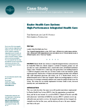 Baylor Health Care System: High-Performance Integrated Health Care