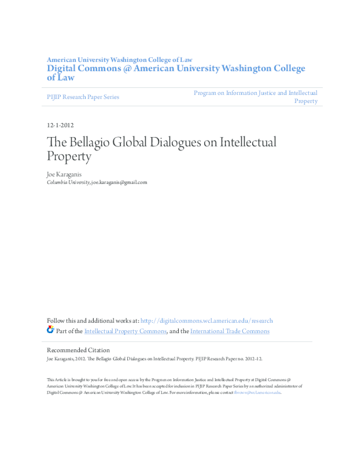 The Bellagio Global Dialogues on Intellectual Property