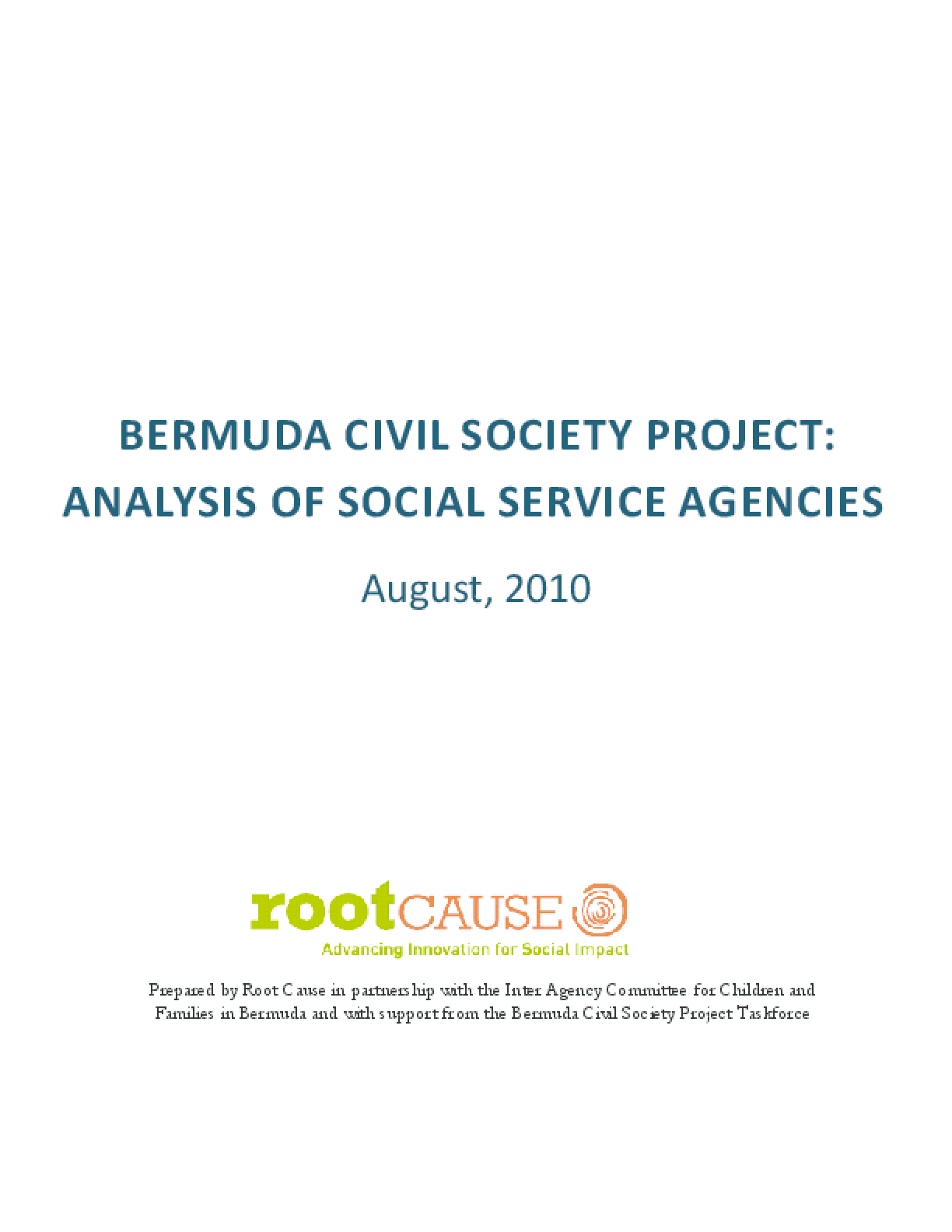 Bermuda Civil Society Project: Analysis of Social Service Agencies
