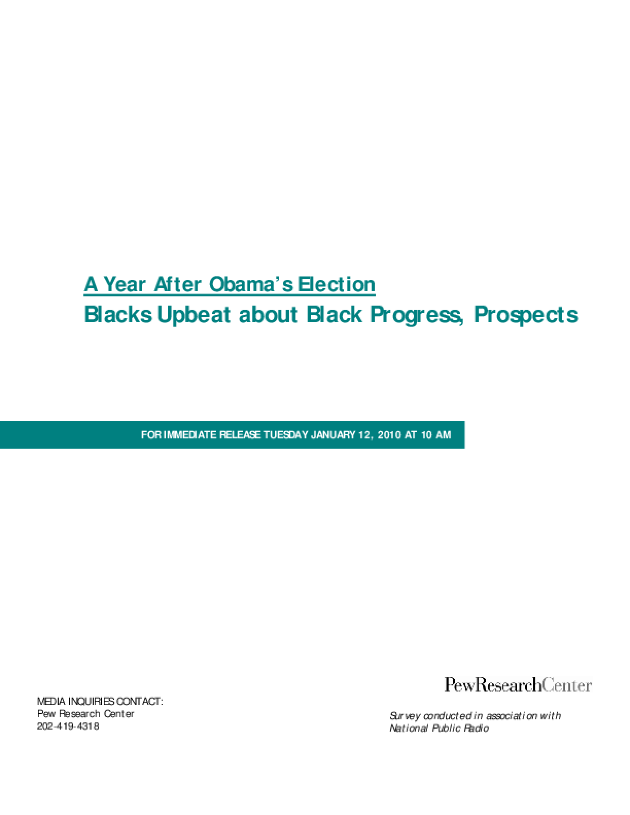 Blacks Upbeat About Black Progress, Prospects