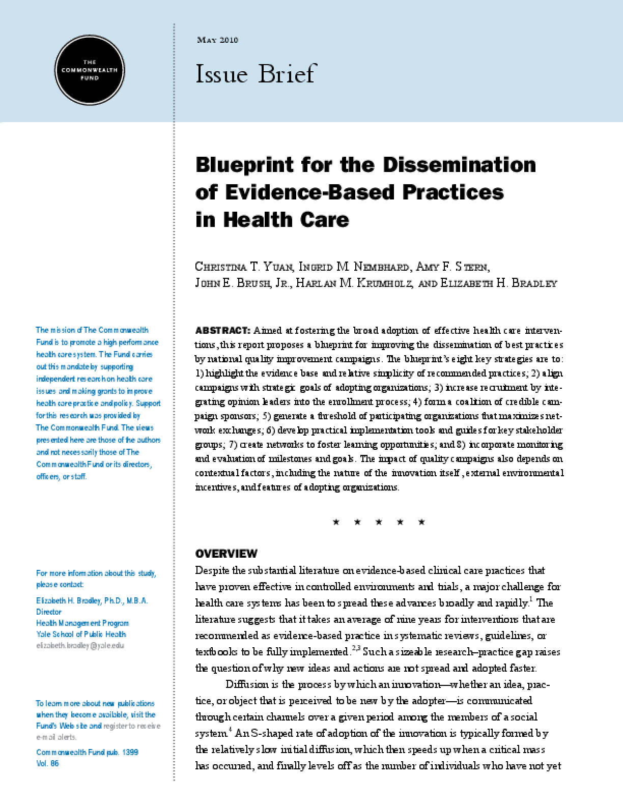 Blueprint for the Dissemination of Evidence-Based Practices in Health Care