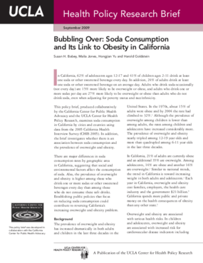 Bubbling Over: Soda Consumption and Its Link to Obesity in California