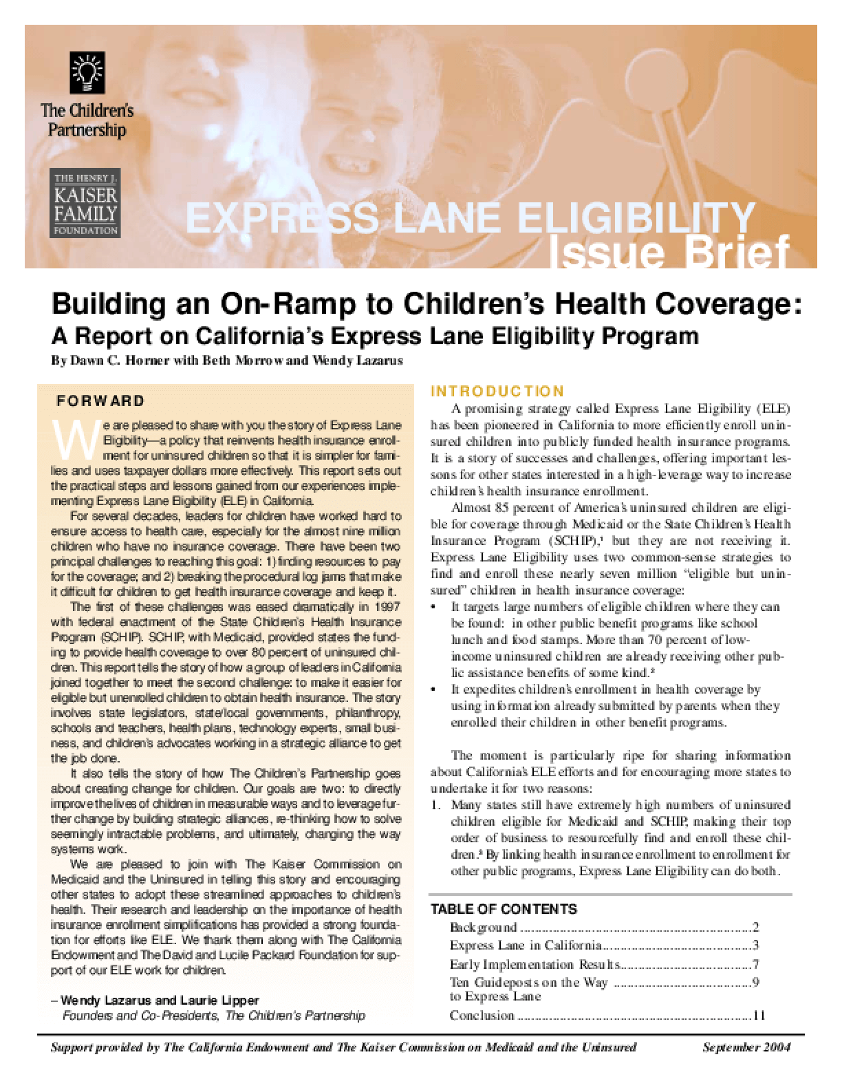 Building an On-Ramp to Children's Health Coverage: A Report on California's Express Lane Eligibility Program