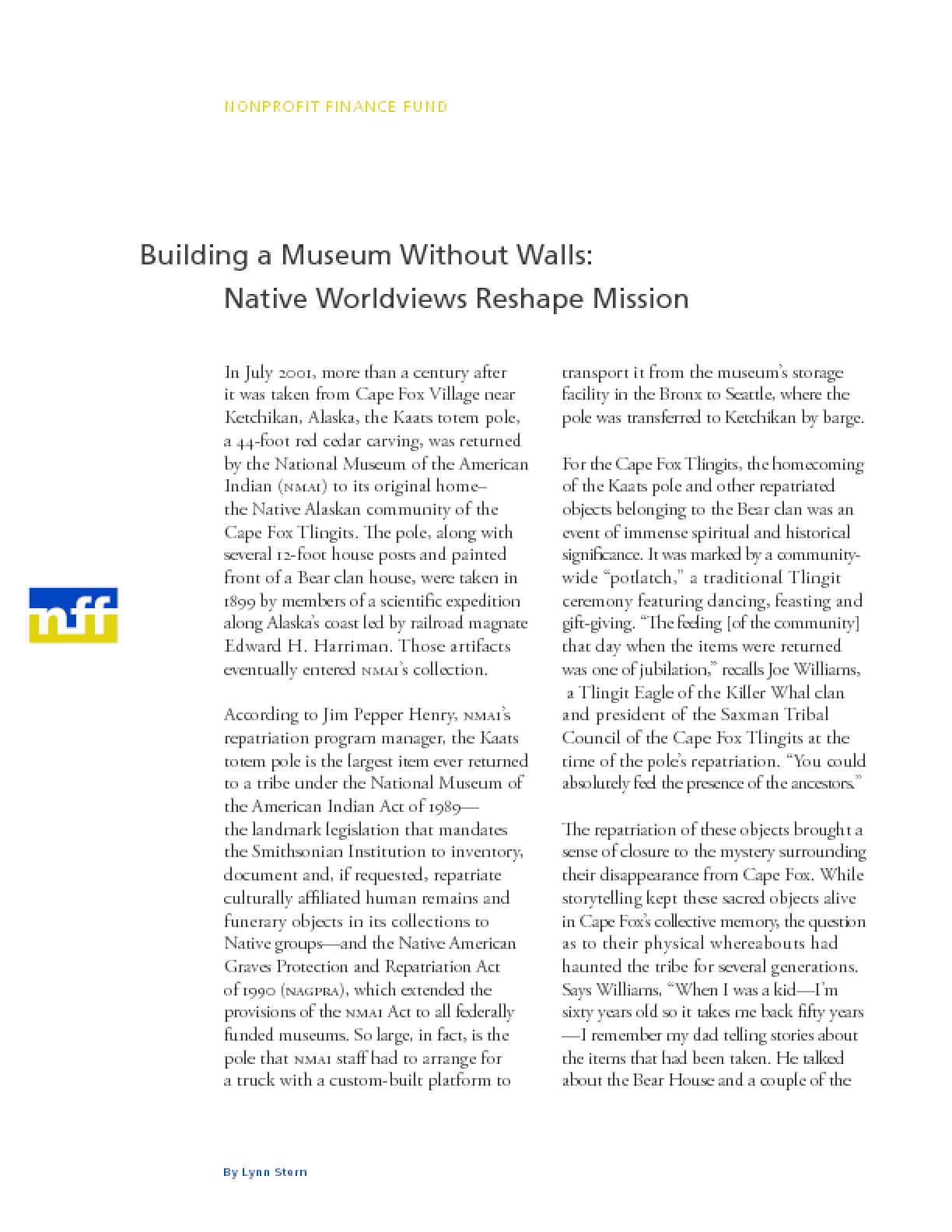 Building a Museum Without Walls: Native Worldviews Reshape Mission