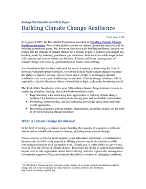 Building Climate Change Resilience