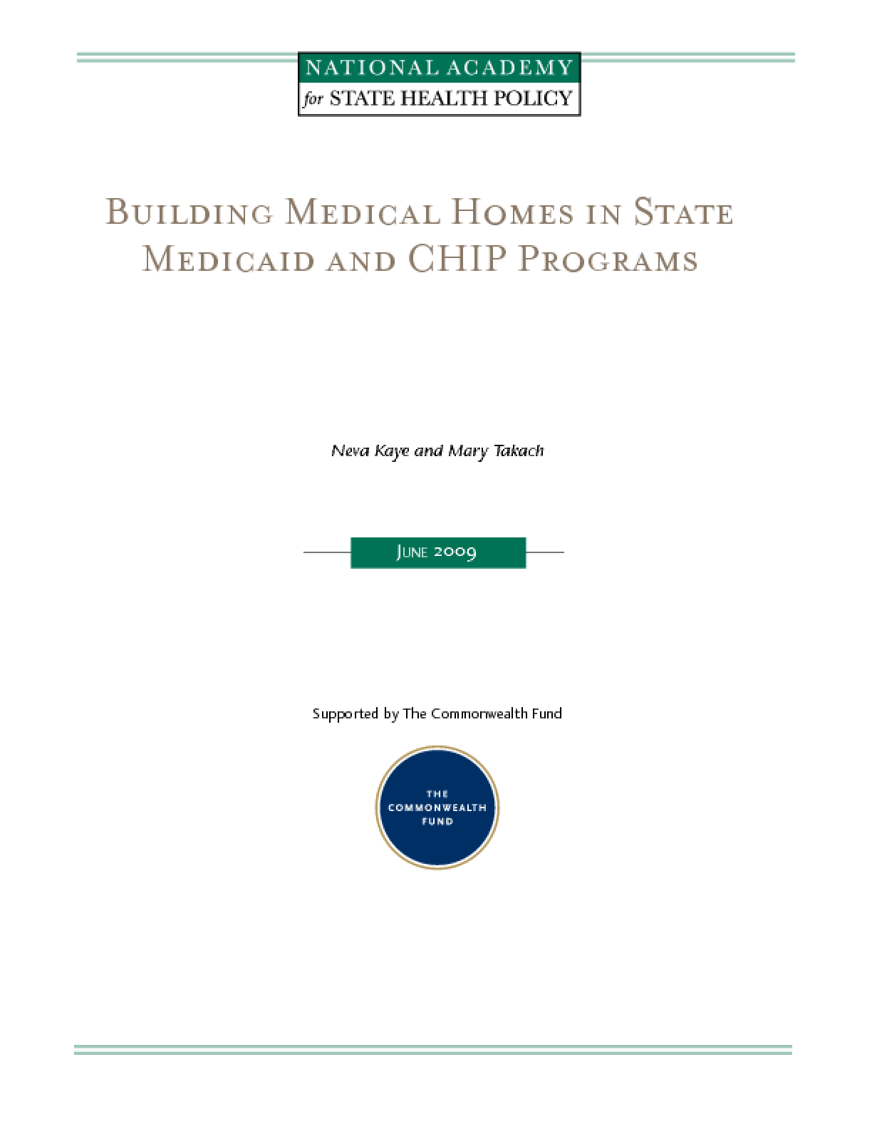 Building Medical Homes in State Medicaid and CHIP Programs