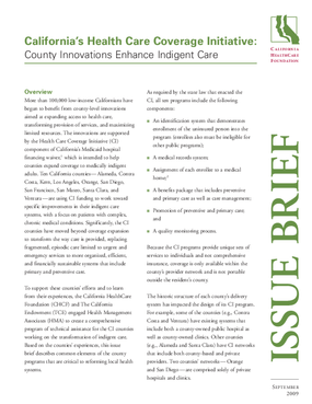 California's Health Care Coverage Initiative: County Innovations Enhance Indigent Care