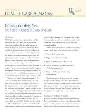 California's Safety Net: The Role of Counties in Overseeing Care