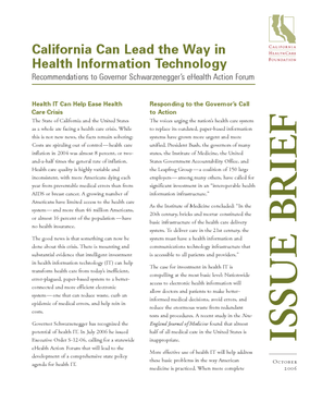 California Can Lead the Way in Health Information Technology