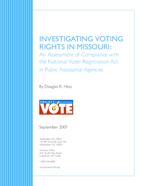 Investigating Voting Rights in Missouri: An Assessment of Compliance with the National Voter Registration Act in Public Assistance Agencies
