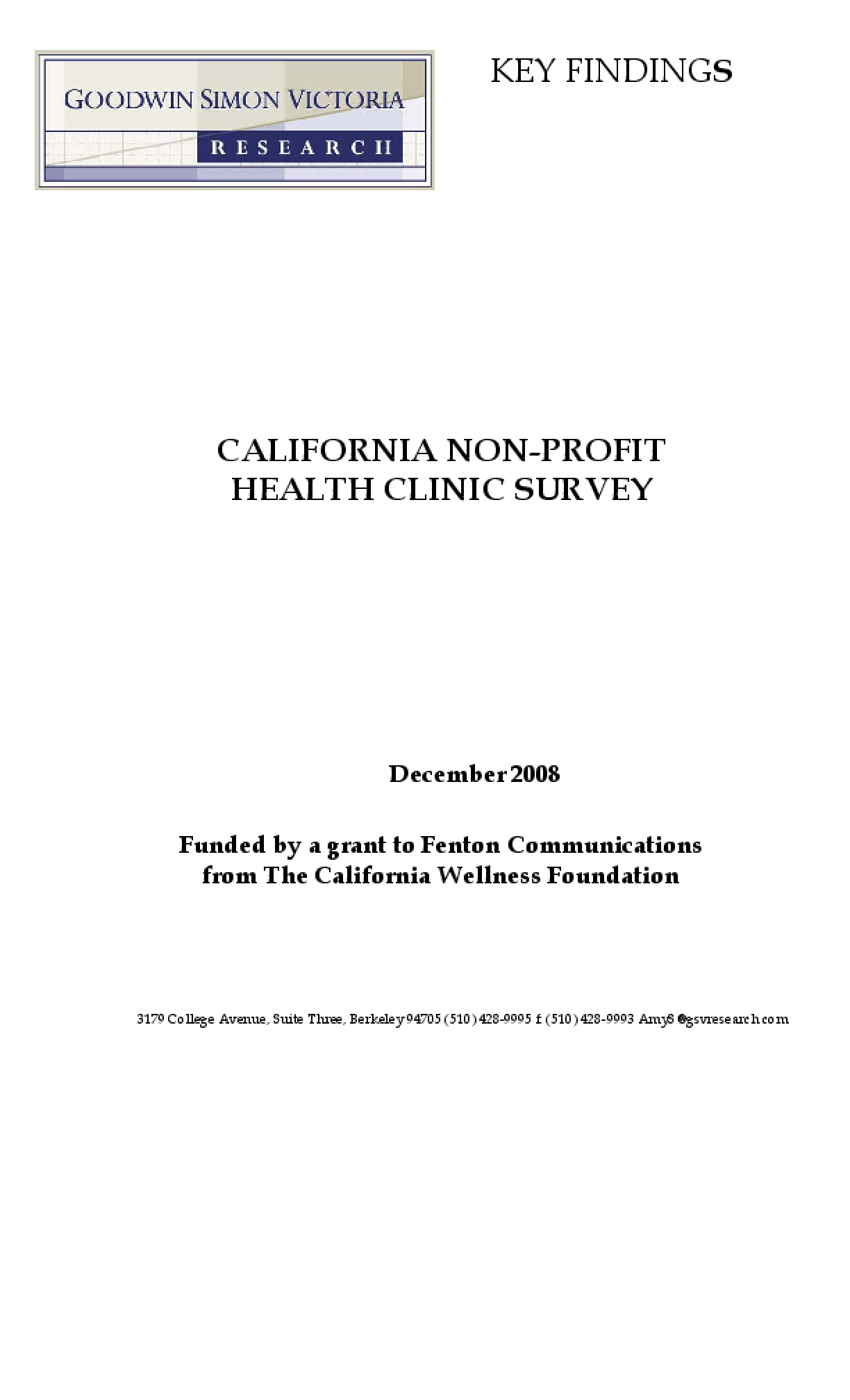 California Non-Profit Health Clinic Survey
