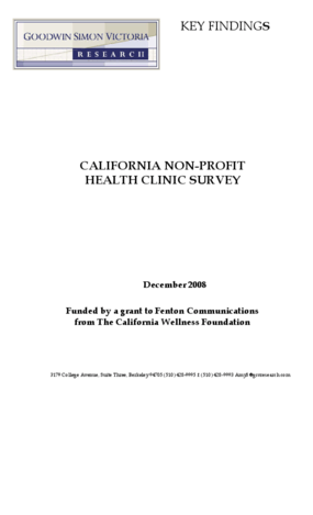 California Non-Profit Health Clinic Survey