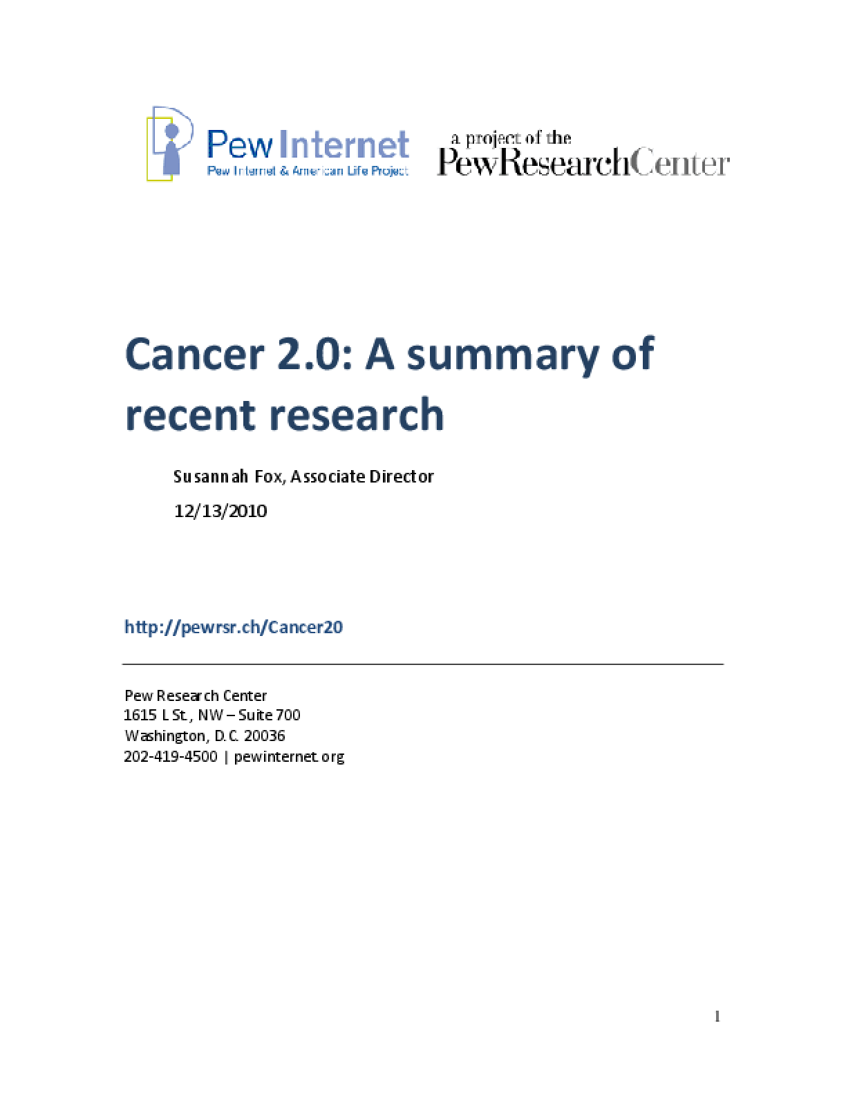 Cancer 2.0: A Summary of Recent Research