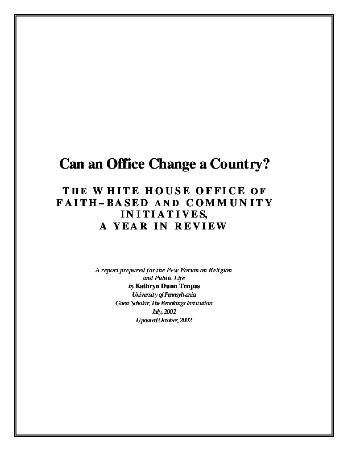 Can an Office Change a Country? The White House Office of Faith-Based and Community Initiatives: A Year in Review