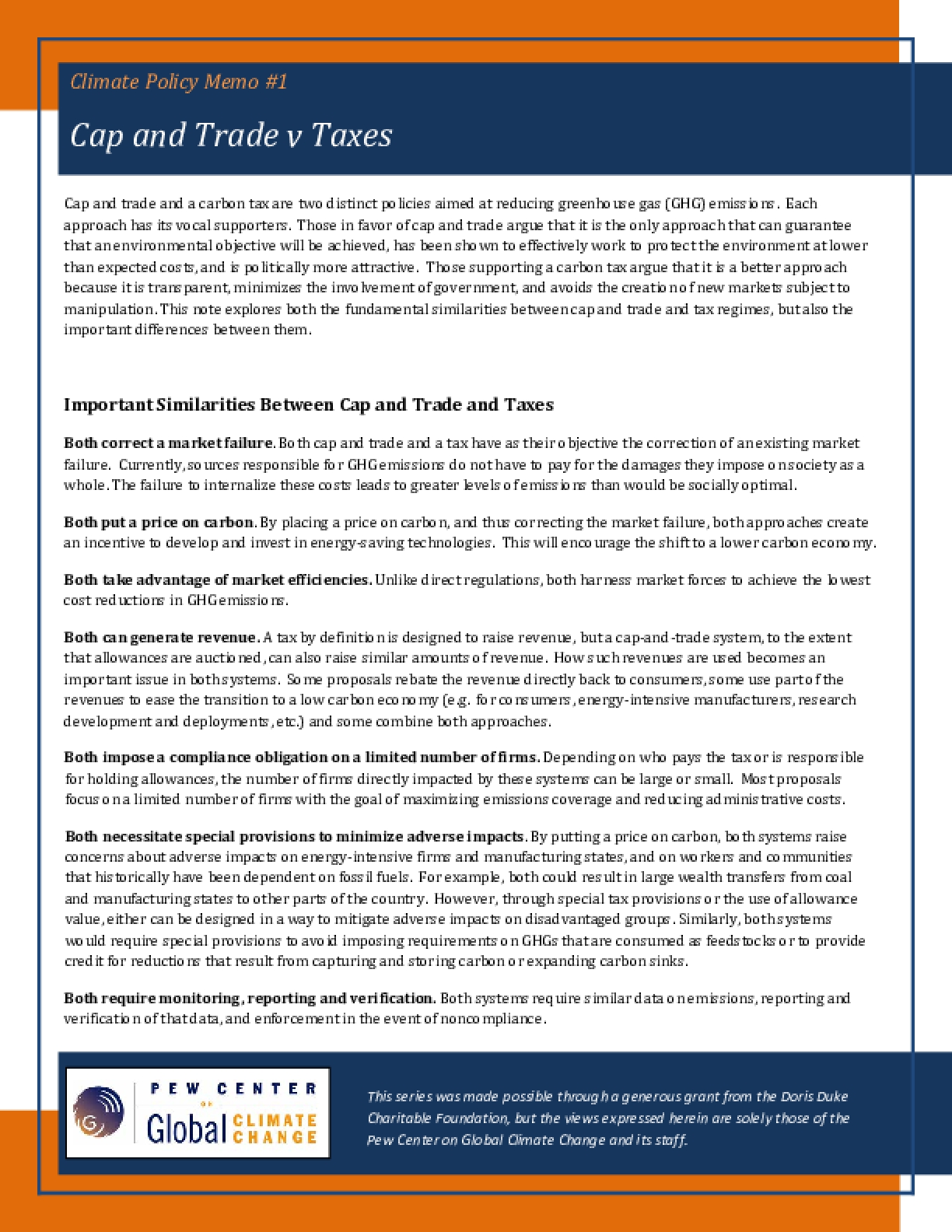 Cap and Trade v Taxes