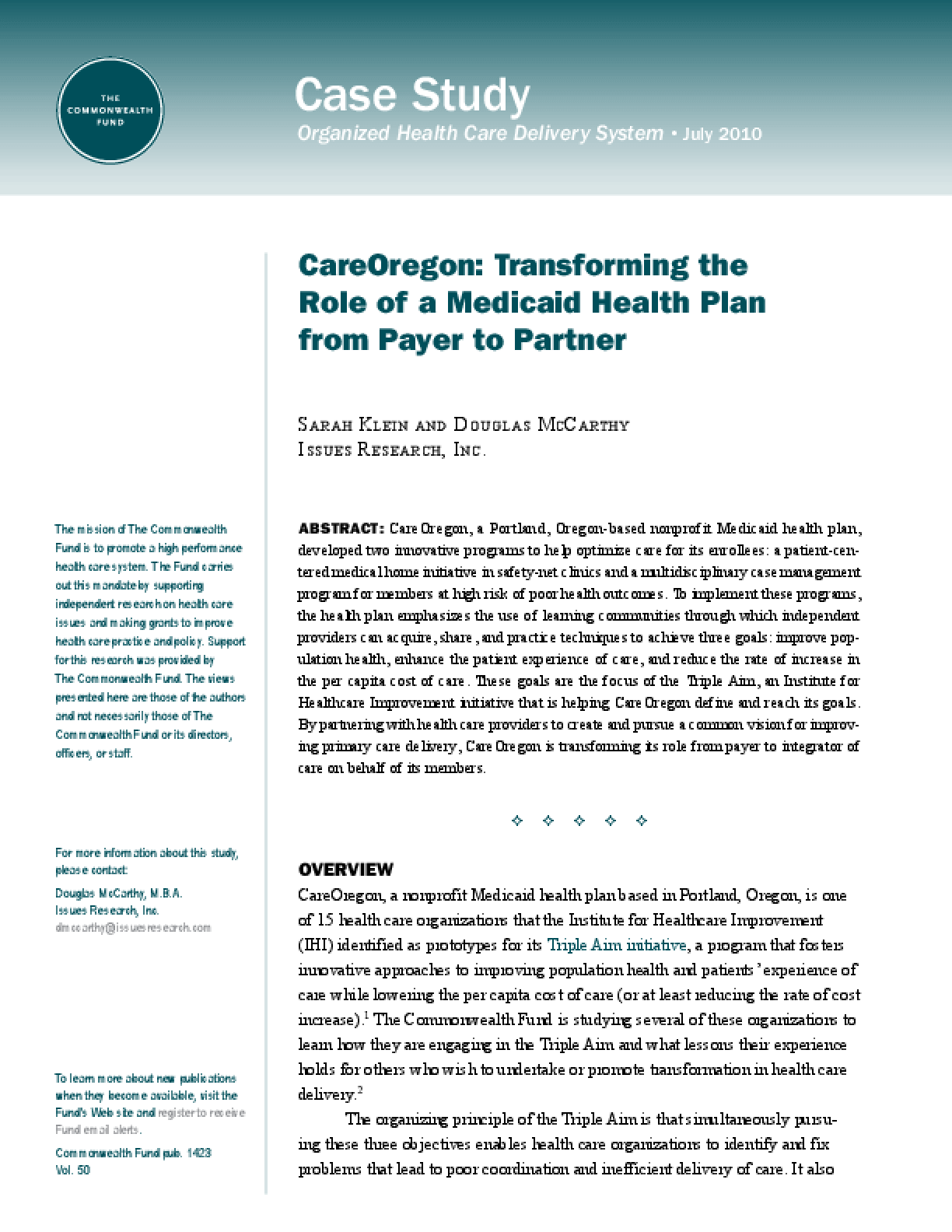 CareOregon: Transforming the Role of a Medicaid Health Plan From Payer to Partner
